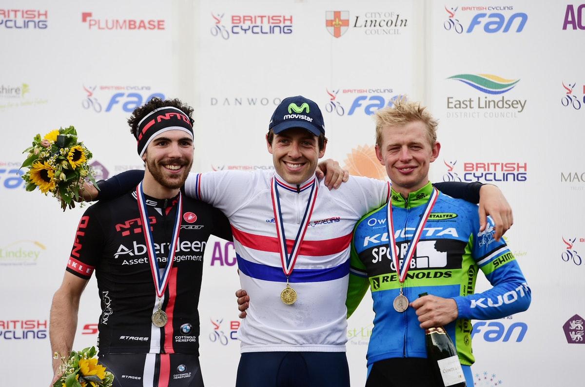 Alex Dowsett, British champion, podium, pic: Alex Broadway/SWpix.com
