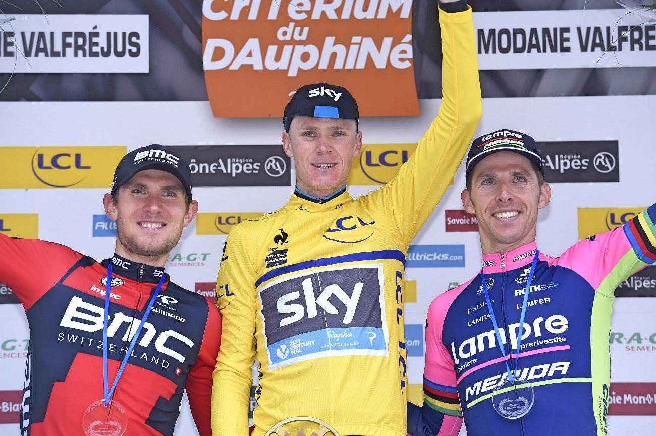 Chris Froome, yellow jersey, Criterium du Dauphine, Tejay van Garderen, Rui Costa, podium, pic: Sirotti