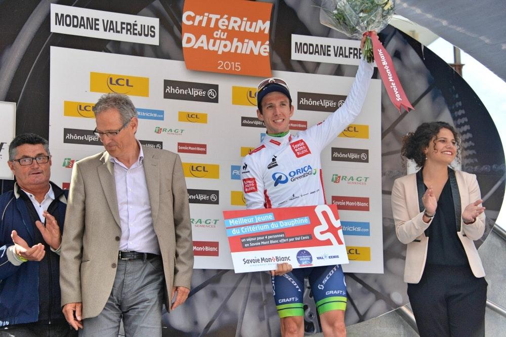 Simon Yates, Orica-GreenEDGE, white jersey, Criterium du Dauphine, 2015, pic: Sirotti