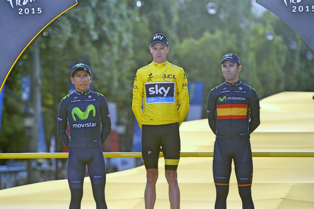 Chris Froome, Team Sky, podium, Champs-Elysees, Tour de France, 2015, pic - Sirotti
