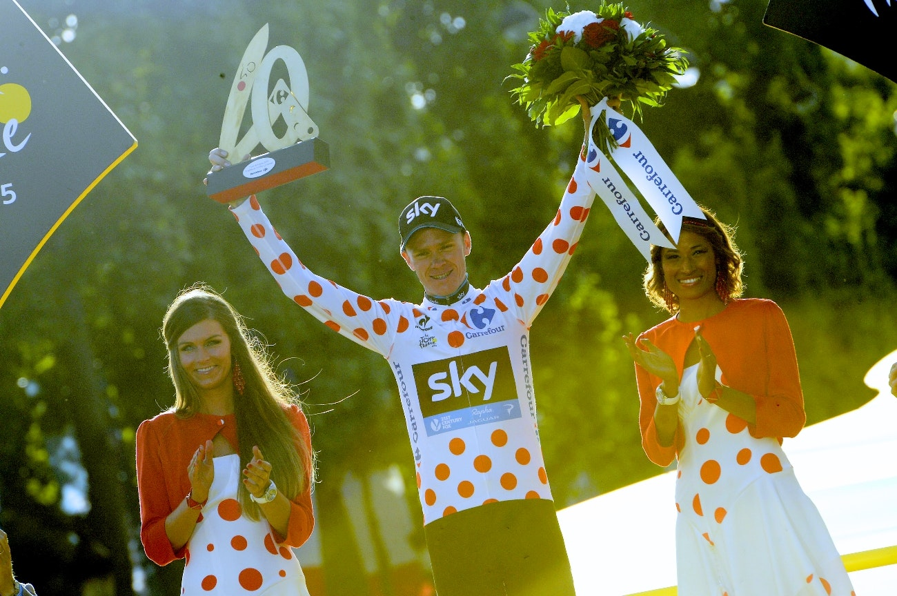 Chris Froome, Team Sky, polka dot jersey, podium, Tour de France, 2015, pic - Sirotti