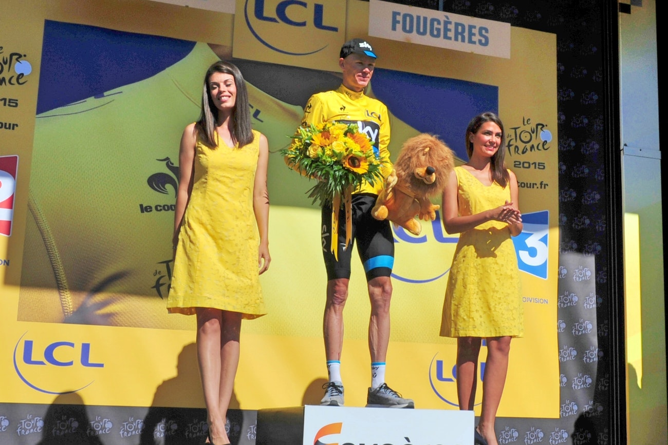 Chris Froome, yellow jersey, Tour de France, 2015, pic - Sirotti