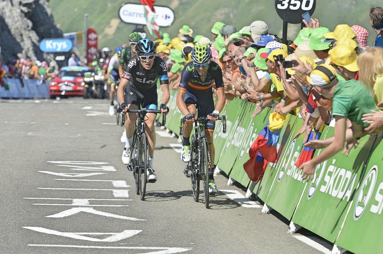 Geraint Thomas, Alejandro Valverde, Team Sky, Movistar, Tour de France, 2015, pic - Sirotti