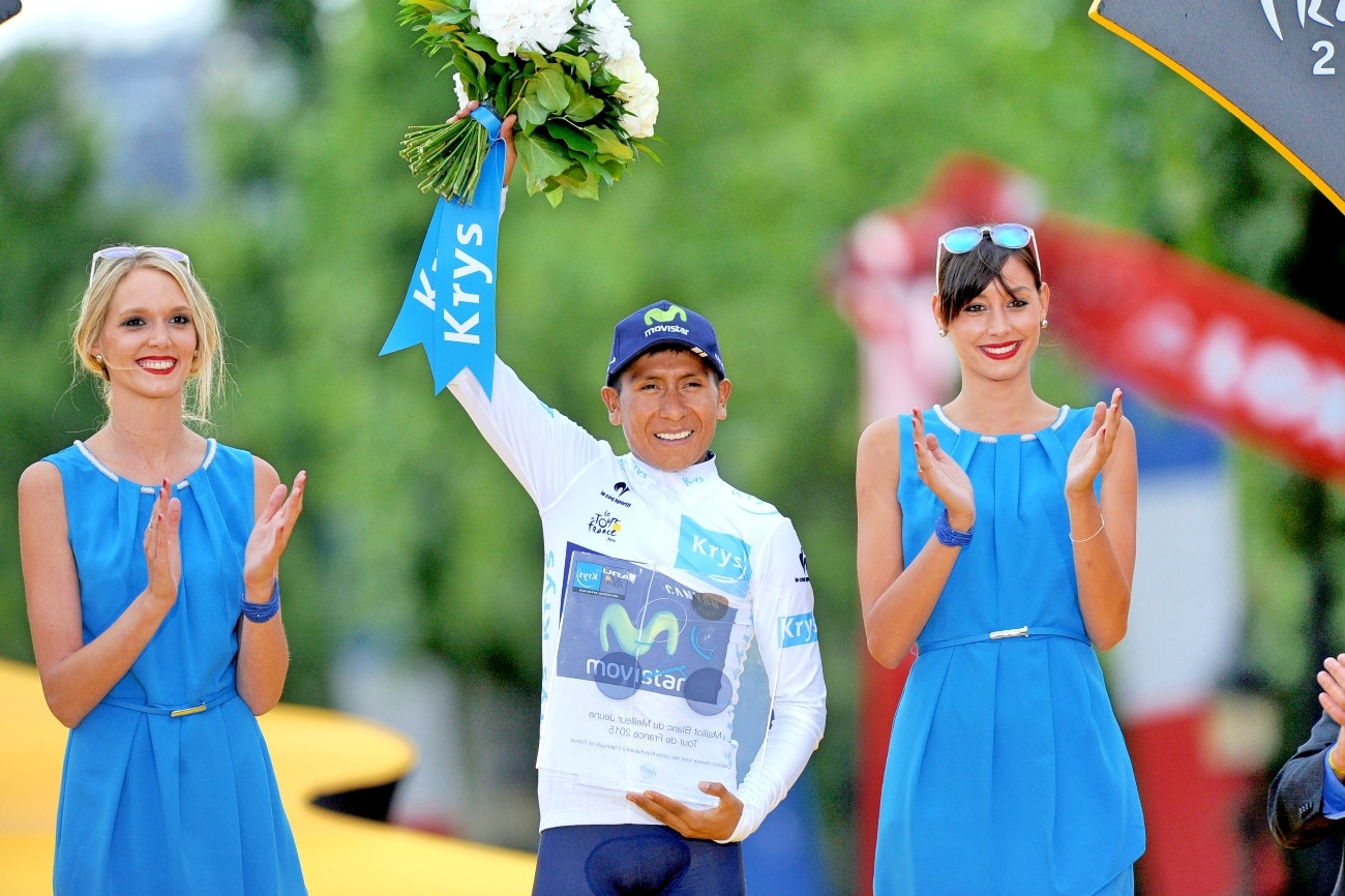 Nairo Quintana, Movistar, Tour de France, podium, 2015, white jersey, pic - Sirotti