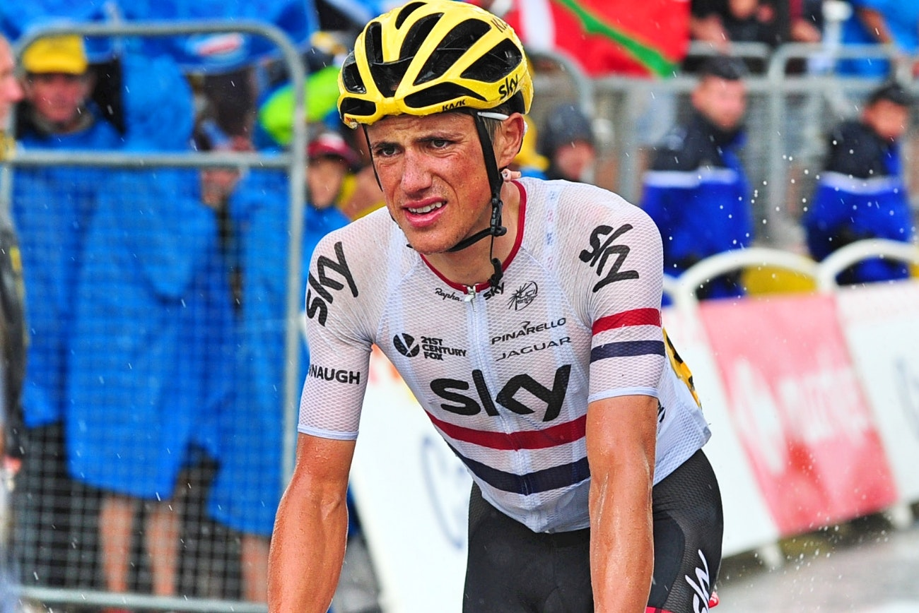 Peter Kennaugh, British champion, ill, rain, Team Sky, 2015, Tour de France, pic - Sirotti