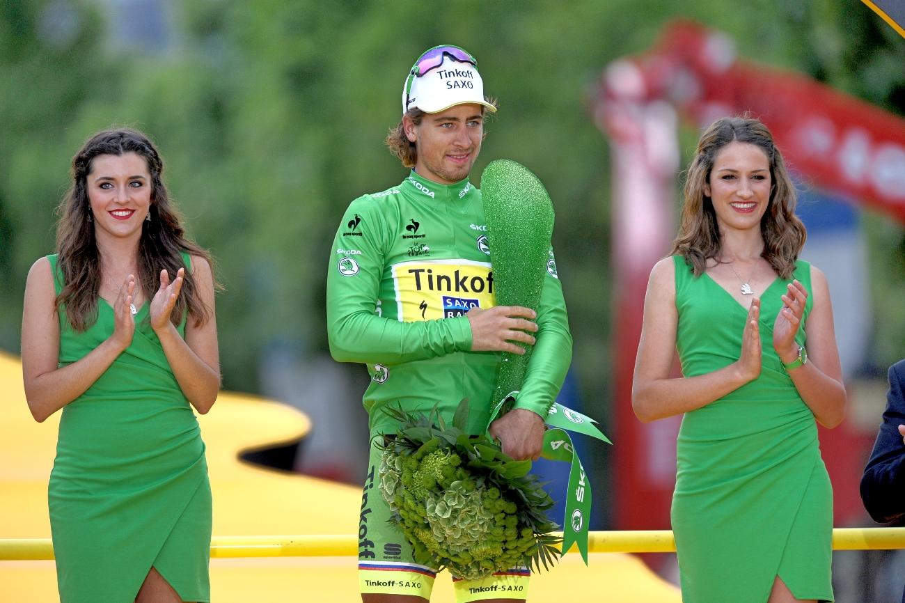 Peter Sagan, green jersey, podium, Tour de France, 2015, pic - Sirotti
