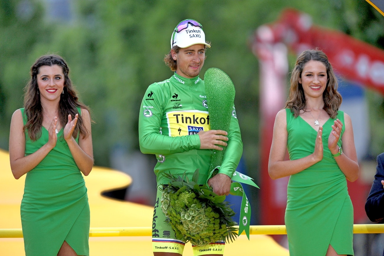 Peter Sagan, green jersey, podium, Tour de France, 2015, pic - Sirotti