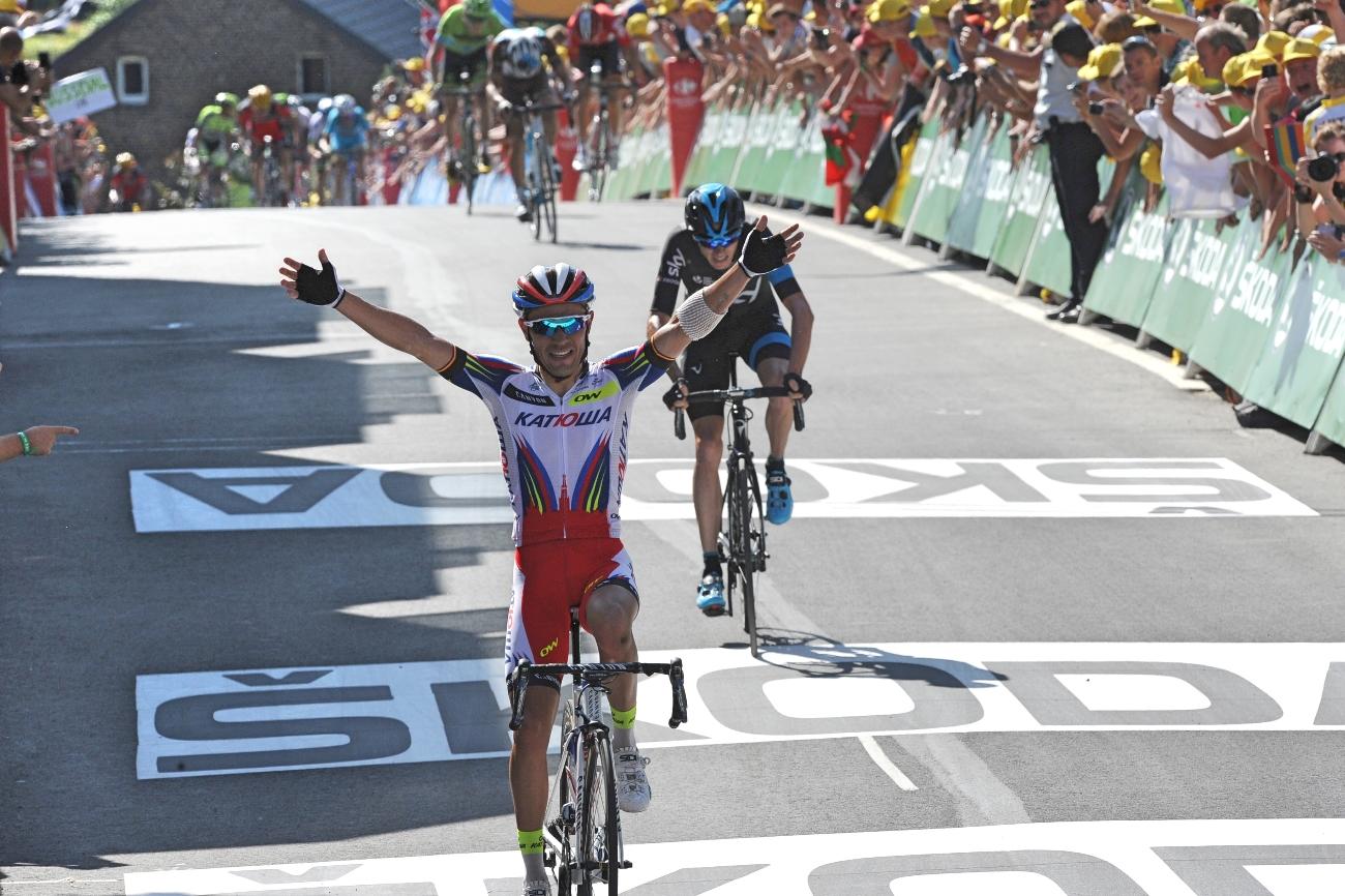Joaquim Rodriguez, Katusha, Tour de France, 2015, Mur de Huy, salute, pic: Sirotti