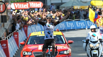 Tour de France 2015 - stage 18: Romain Bardet celebrates victory (Pic: Sirotti)