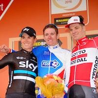 Ben Swift, Arnaud Demare, Jurgen Roelandts, podium, Milan-San Remo, 2016, pic - Sirotti