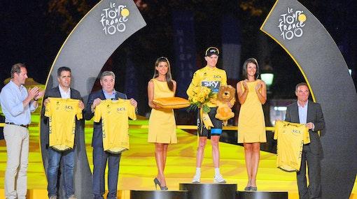 Chris Froome, Miguel Indurain, Eddy Merckx, Bernard Hinault, yellow jersey, 2013, Tour de France, podium, pic - Sirotti