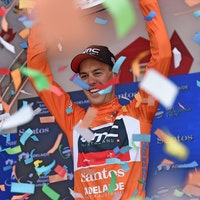 Richie Porte, ochre jersey, BMC Racing, podium, ticker tape,Tour Down Under, 2017, pic - Sirotti