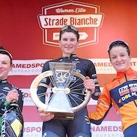 Elisa Longo Borghini, Katarzyna Niewiadoma, Lizzie Deignan, Strade Bianche, podium, 2017, pic - RCS Sport