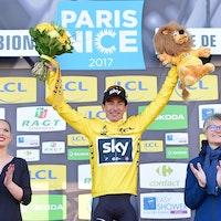 Sergio Henao, Team Sky, yellow jersey, Paris-Nice, 2017, podium, pic - ASO