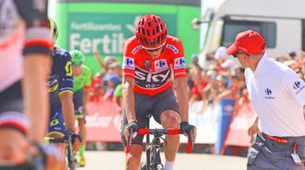 Chris Froome, red jersey, tired, Vuelta a Espana, pic - Sirotti