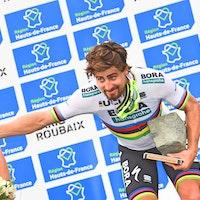 Peter Sagan, world champion, podium, Paris-Roubaix, 2018, pic - Sirotti
