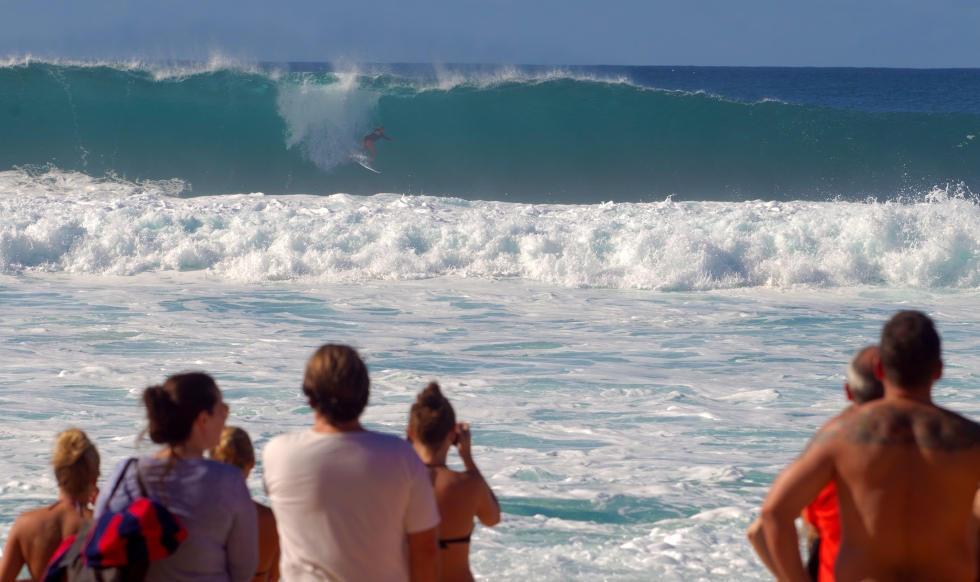 Bethany Hamilton surfing Pipe