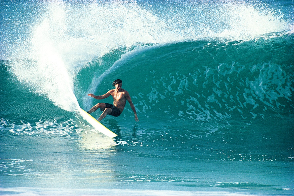 Tom Curren buries the rail at Off The Wall, photographed by Tom servais