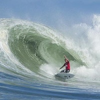 John John Florence of Oahu, Hawaii (pictured) won the Quiksilver Pro France, defeating Jadson Andre (BRA) in the Final, in eight-to-10 foot (2.5 - 3 metre) barrels at Les Gardians on Sunday October 5, 2014. Florence defeated Jadson Andre (BRA) with an enormous 16.00 victory (out of a possible 20.00) to Andre