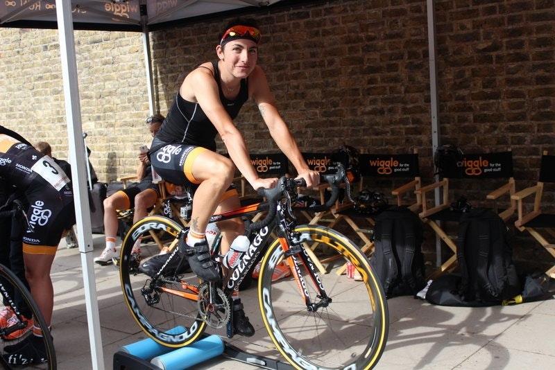Winner Giorgia Bronzini Warms Up turbo training workout warm up