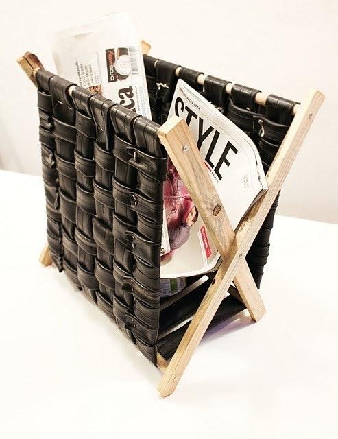 recycle inner tube magazine rack