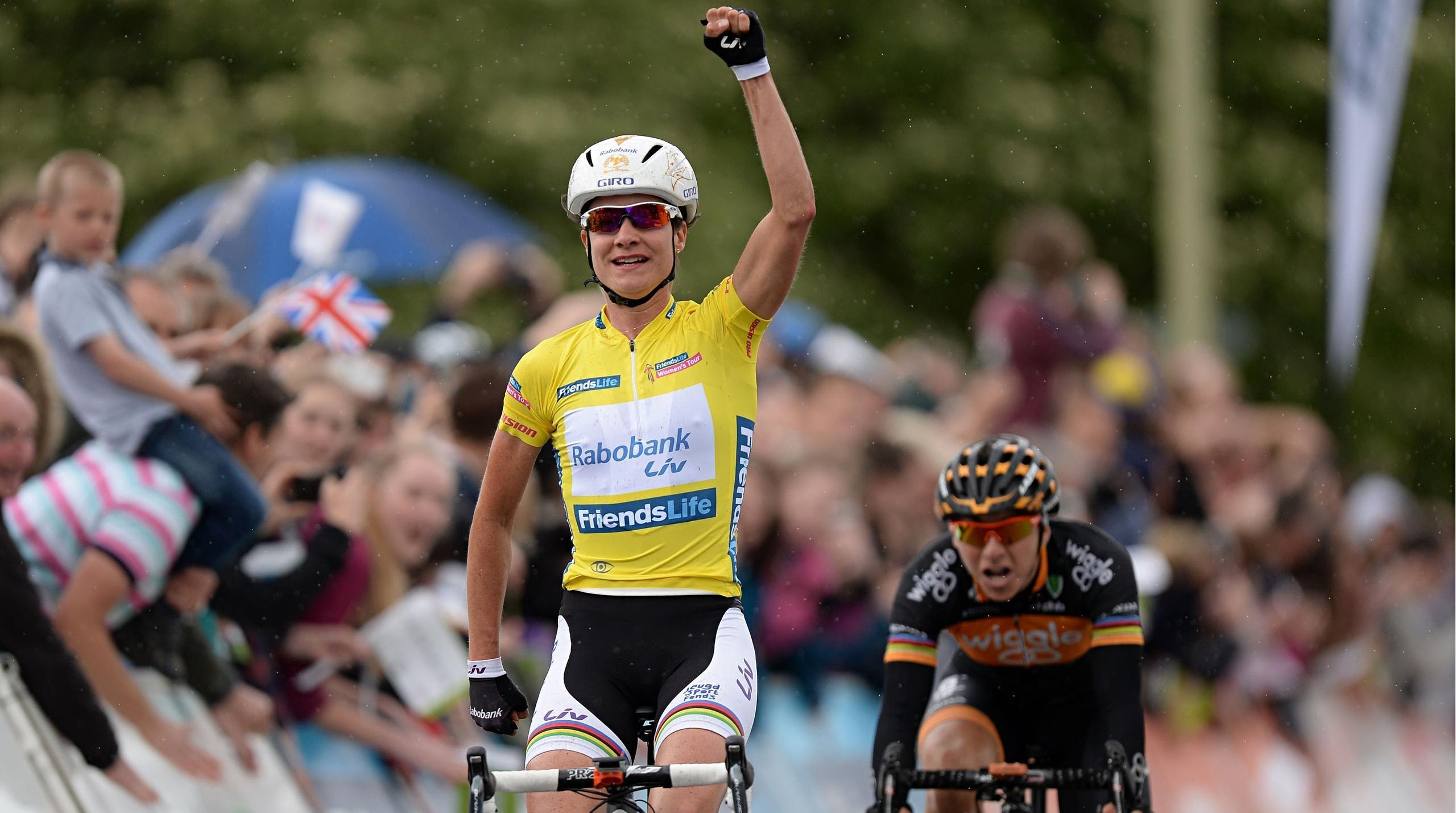 Marianne Vos crosses the finish line to win stage four of the Women's Tour in Welwyn Garden City.