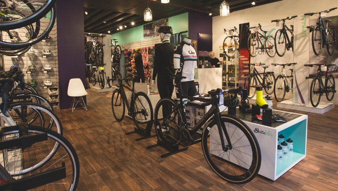 Picture of inside of Bella Velo bike shop with bikes on display