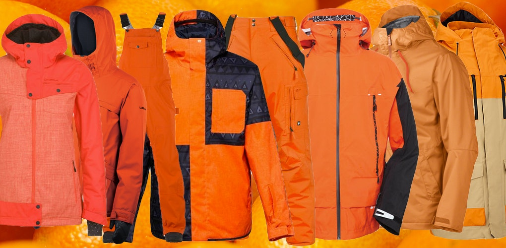orange snowboard pants and jackets